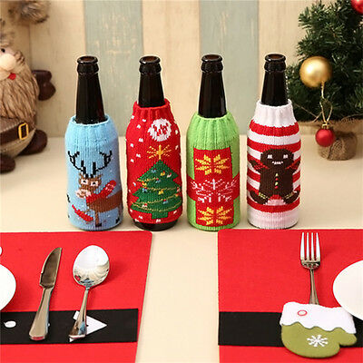 Knitted Merry Christmas Santa Wine Beer Bottle Bag Cover Decor Xmas Party Gift