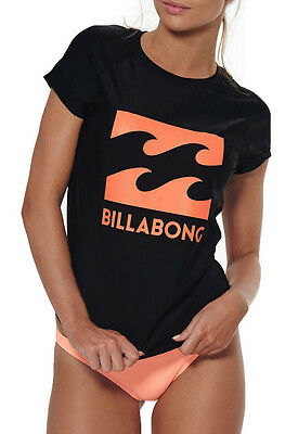 "New + Tag Billabong Womens (12) ""surf Dayz"" Wetshirt Rashie Rash Vest Black"