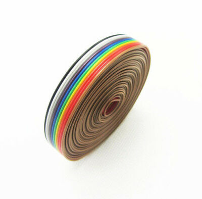 10 WAY 10P Flat Color Rainbow Ribbon Cable Wiring Spacing Pitch 1.27mm new