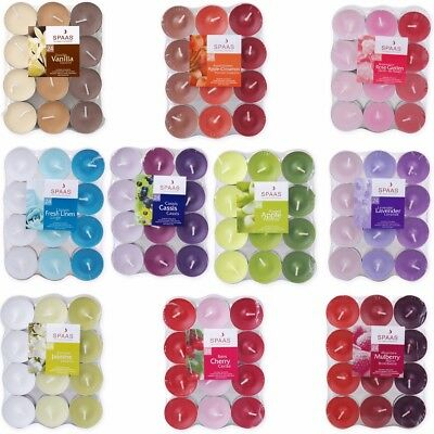 24x SCENTED TEA LIGHTS - 10 Scents Candles Fragrance T Light 4-5 Hour Burn Time