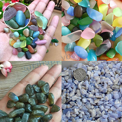 DIY Natural Opal&Blue Moonstone Gravel Pebbles Crystal Aquarium Fish Tank Decor