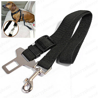 DOG Cat PET CAR SAFETY SEAT BELT HARNESS RESTRAINT ADJUSTABLE LEAD TRAVEL CLIP