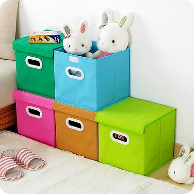 Foldable Square Fabric Storage Bin Collapsible Box Clothes Organizer Cube Assort