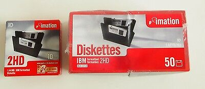60 3.5 Floppy disks Diskette 1.44 MB IBM Formatted High Density Imation 2HD