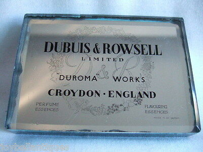 Dubuis & Rowsell. Duroma Works. Advertising  Mirror Glass Paper Weight. Perfume