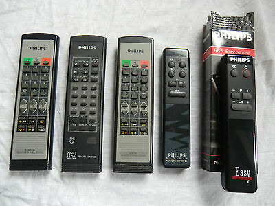 5x Vintage Genuine Philips Remote Controls 1980s, Philips VCR, Philips TV, 1980s