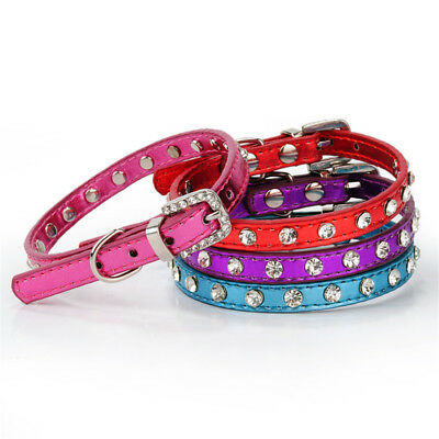 Pet Dog Cat PU Lether Adjustable Collar Buckle Neck Strap Cute Pure Color