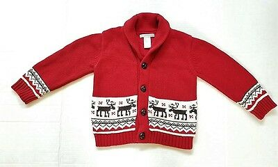 JANIE AND JACK Boys 2T Cherish the Season Red Reindeer Holiday Cardigan Sweater