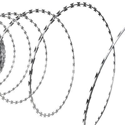 New 60m Barb Wire Fencing Nato Razor Fence Galvanised Steel Garden Barbed Coil