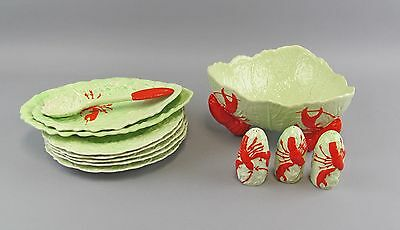 Lot of 12 Carlton Ware GREEN LEAF LOBSTER Dinnerware Pieces Plates Salad Bowl++