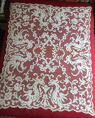 """Antique 1900 French Filet Tablecloth Curtain Lace With Dragons Flowers 70"""" X 55"""