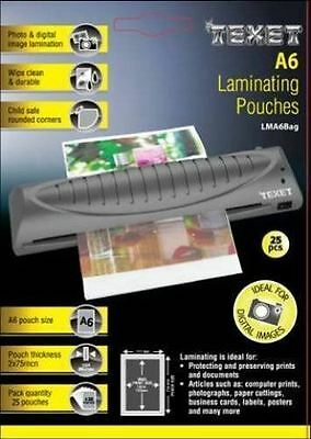 Texet Laminating Pouches A6 25 Pack