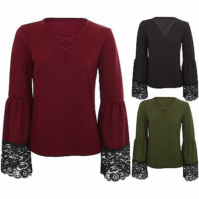 Ladies Long Bell Sleeve Lace Trim Criss Cross V Neck Crepe Textured Blouse Top