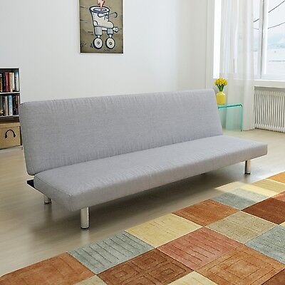 Modern Light Grey Fabric Sofa Bed 3 Seater Lounge Suite Couch Chaise Recliner
