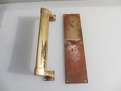 Antique Bronze Door Handle Set Shop Pull Finger Plate Vintage Art Deco Old  12""