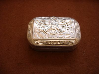 Egyptian Revival Aluminium Tin Snuff Box Size Quies Paris hieroglyphs great tin