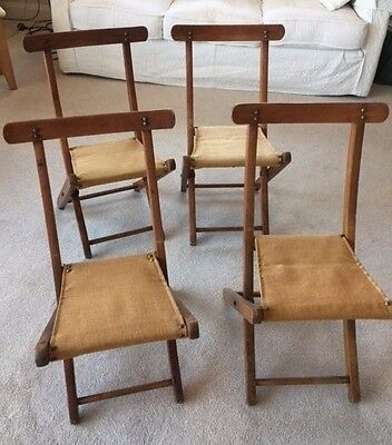 4 Vintage Folding Wooden Childrens' Chairs