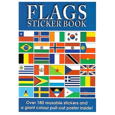 Flags Sticker Book 180 Reusable Stickers & Giant Colour Poster Kids Educational