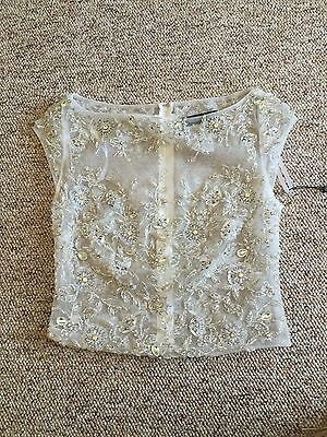 Claudine Alyce Paris Short Sleeve Crystal Topper Shrug Wedding Prom Size 6