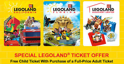 Legoland KIDS Go Free /w Adult California or Florida Good 12/31/2018 ONLINE ONLY