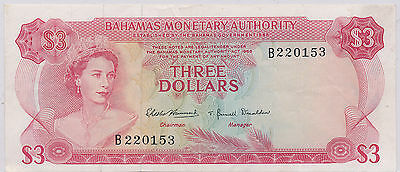 Bahamas 3 Dollar 1968 Pick# 28 - VF