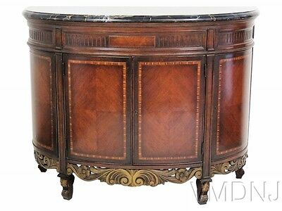 VMD1534 Regency Style Marbletop Inlaid Demilune Commode