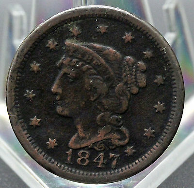 1847 Braided Hair Type Large Cent Vf Detail