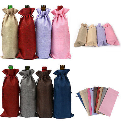 7PCS New Linen Bags Wedding Holiday Parties Decor Wine Bottle Bags Gift Pouch