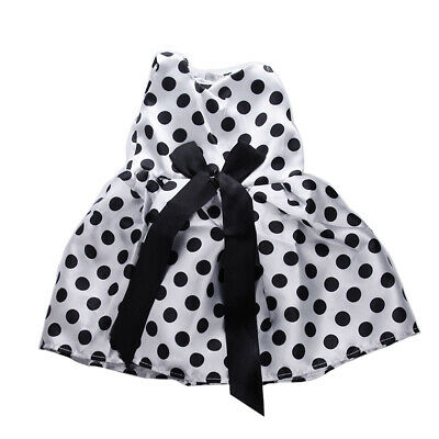 18 inch Doll Clothes White Dotted Bowknot Sleeveless Dress for American Girl