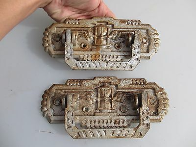 Old French Iron Chest Handles Pulls Lifts Drawer Hardware Pair  Vintage / Retro