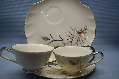 4 Piece Snack Set Lefton Gold Wheat Stalks - 2 cups and 2 saucers- Made in Japan