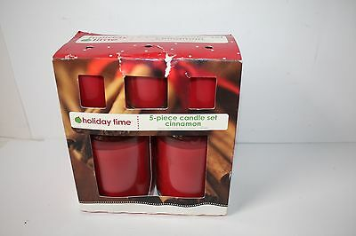 Holiday Time Brand 5 Piece Candle Gift Set Cinnamon NEW