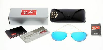 BRAND NEW RAY-BAN RB3025 112/17 Aviator Matte Gold Frame/ Blue Mirror Lens 58mm