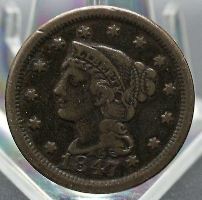 1847 Braided Hair Type Large Cent Vf  Condition