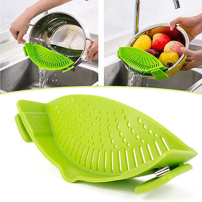 Kitchen Silicone Filter Food Pan Clip-On Strainer Clip Colander Liquid Separate