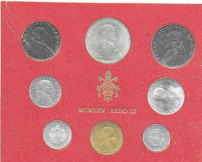 Vatican City 1965 Mint Set (8 Coins) In Original Holder KM-MS69 Choice BU