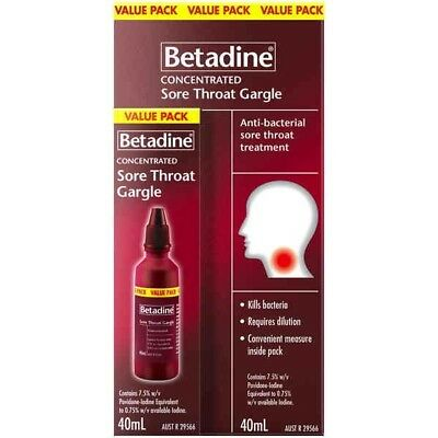Betadine Concentrated Sore Throat Gargle 40ML NEW Cincotta Chemist