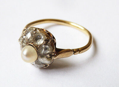 Bague  OR massif 18k + perle+ diamants  Bijou ancien gold ring 19e siècle 00