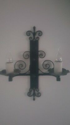 Antique French Wrought Iron Candle Sconces Gothic  (Converted) Restored