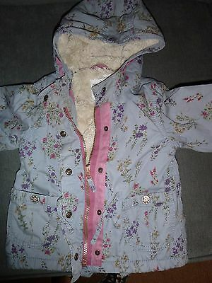 next baby girls floral parka coat age 18-24 months