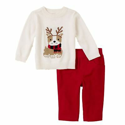 Childrens Place Infant Boys Outfit White Puppy Sweater & Red Pants Set