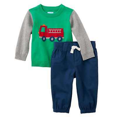 Childrens Place Infant Boys Outfit Green Fire Truck Sweater Blue Pants Set
