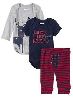 Childrens Place Infant Boys 3 Piece Daddys Little Helper Creepers Pants Set
