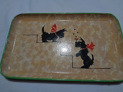 vintage small lacquered art deco scottie dog tray-rare 2 Jerywil products Japan