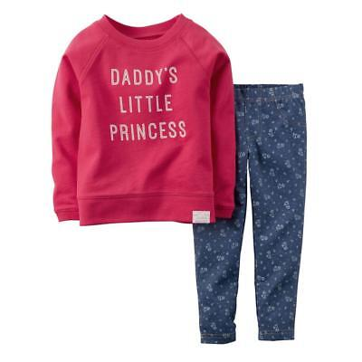 8a5e4351c Carter Infant Girl Pink Daddys Little Princess 2 Piece Outfit Shirt Leggings