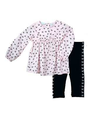 First Impressions Infant Girls Pink Black Bow Shirt Leggings 2 PC Outfit