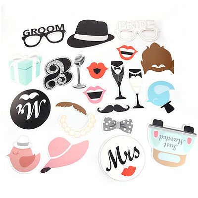 22pcs Single Lady Theme Fancy Paper Beard Wedding Party Photo Booth Prop Set HOT