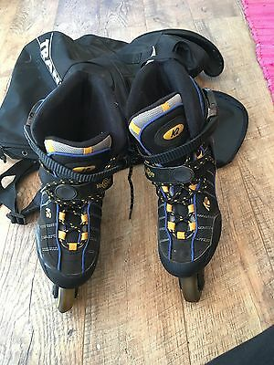 K2 roller blades, yellow black and blue size 6.5, with pads and carry bag
