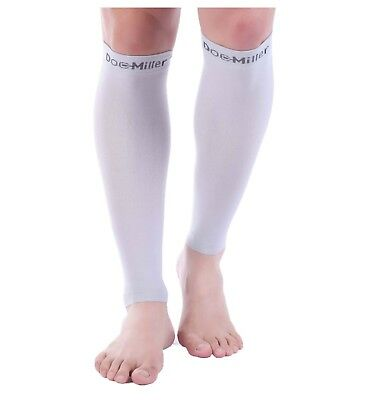 Doc Miller Calf Compression Sleeve 1 Pair 20-30mmHg Recovery Varicose Veins GRAY