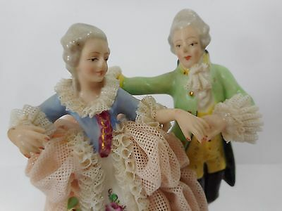 Vintage Dresden Germany Dancing Couple Lacework Figurine